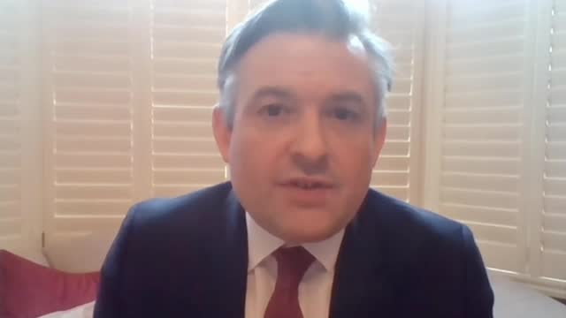 oxford vaccine shown to be highly effective england int jonathan ashworth mp interview via web sot - itv lunchtime news stock videos & royalty-free footage