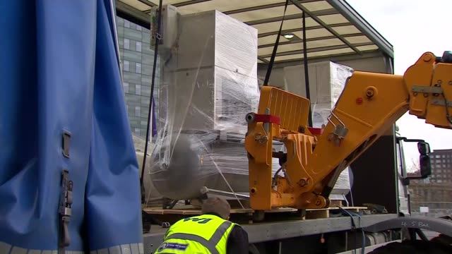 oxygen tanks delivered to excel centre; england: london: newham: custom house: docklands: royal victoria dock: excel centre : ext various of oxygen... - london docklands stock videos & royalty-free footage