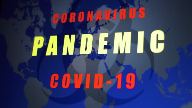 """coronavirus pandemic covid-19"" appearing on world map graphic. - capital letter stock videos & royalty-free footage"