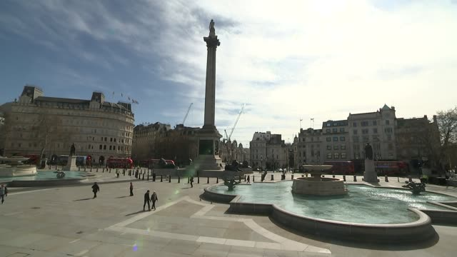 people urged to stop panic buying and maintain social distancing uk london london landmarks including piccadilly circus carnaby street and trafalgar... - trafalgar square stock videos & royalty-free footage