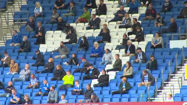 premier league eager to get fans back in stadiums on eve of new season; 29.8.2020 england: brighton: falmer stadium: ext various of 'socially... - stadium stock videos & royalty-free footage