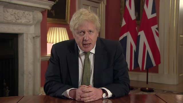 prime minister boris johnson address to the nation; part 2 of 2 england: london: westminster: downing street: int boris johnson mp speech sot - of... - resting stock videos & royalty-free footage