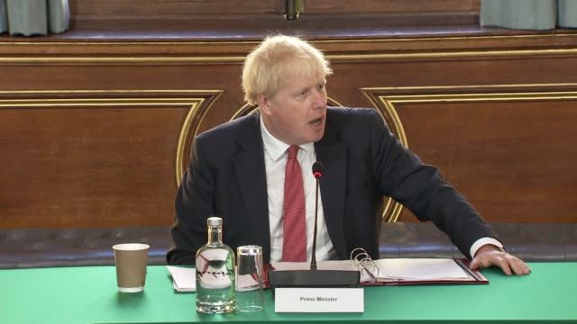 prime minister boris johnson delivers opening remarks at cabinet following summer recess england london westminster int boris johnson mp speaking to... - politician stock videos & royalty-free footage
