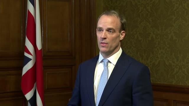 prime minister boris johnson goes into intensive care; england: london: downing street: number 10: int dominic raab mp press conference sot. - boris johnson stock videos & royalty-free footage