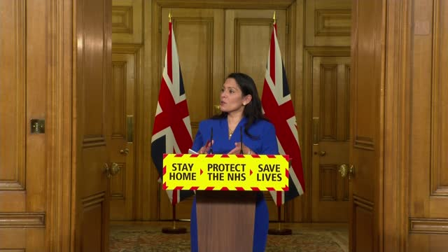 priti patel insists lockdown rules are clear and they will be enforced; england: london: 10 downing street: int priti patel mp daily coronavirus... - crime stock videos & royalty-free footage