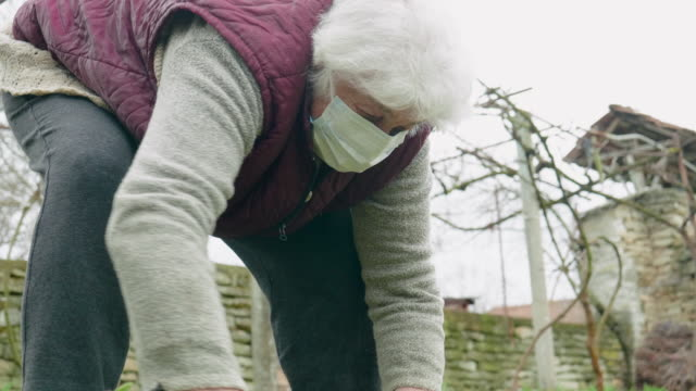 coronavirus protection. senior woman with a protective mask while working in her garden. illness prevention. - illness prevention stock videos & royalty-free footage