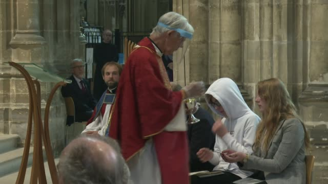 religious services resume in england and northern ireland without singing; england: kent: canterbury cathedral: int dean of canterbury robert willis... - canterbury cathedral stock videos & royalty-free footage