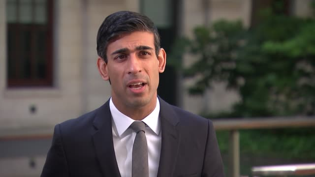 rishi sunak interview england london westminster rishi sunak mp along with aide towards camera rishi sunak mp interview sot q response to report... - small office stock videos & royalty-free footage