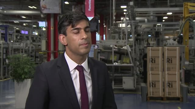 rishi sunak interview; england: west midlands: worcester: worcester bosch factory: int rishi sunak mp interview sot - question - 9 million people... - small stock videos & royalty-free footage