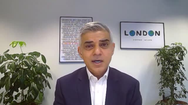 sadiq khan interview; england: london: int sadiq khan interview via internet sot. re nhs in london: - i've been in contact with colleagues in nhs -... - プラスキー点の映像素材/bロール