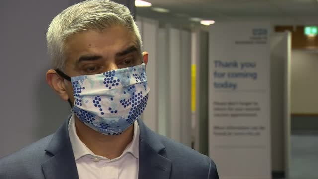 sadiq khan interview; england: london: wembley: mass vaccination centre: int sadiq khan interview sot. -are we getting there in terms of capacity?... - ecstatic stock videos & royalty-free footage