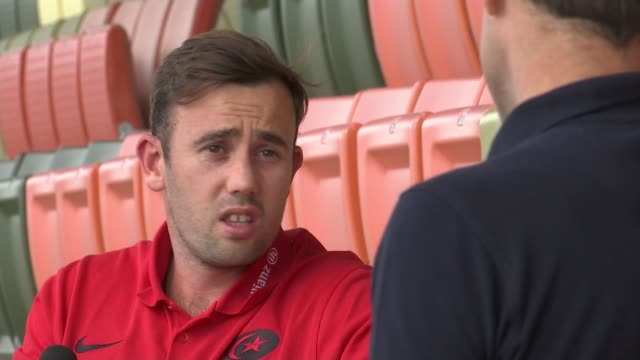 saracens prepare for 'covid-safe' return of premiership rugby; england: london: hendon: allianz park stadium: ext various of worker in protective... - competition stock videos & royalty-free footage