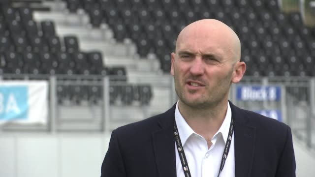saracens prepare for 'covid-safe' return of premiership rugby; england: london: hendon: allianz park stadium: ext warrick lang interview sot int... - orthographic symbol stock videos & royalty-free footage