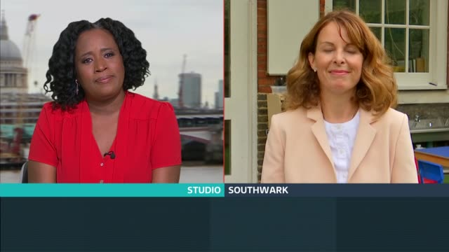 schools reopen in england; england: london: gir: int cassie buchanan live 2-way interview sot cutaways southwark: charles dickens primary school: 'yr... - itv london tonight stock-videos und b-roll-filmmaterial