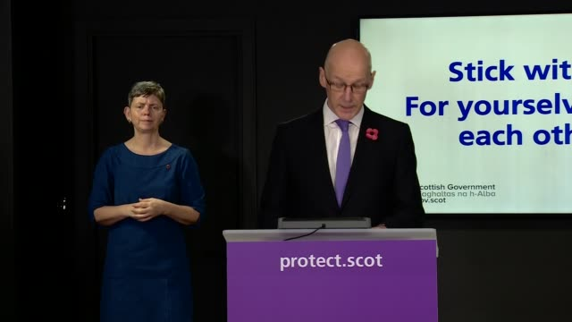 scotland daily coronavirus briefing october 30th; scotland: edinburgh: st andrew's house: int john swinney msp press conference opening statement sot... - 16 17 years stock videos & royalty-free footage