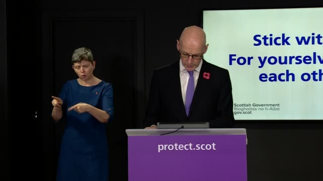 scotland daily coronavirus briefing october 30th; scotland: edinburgh: st andrew's house: int john swinney msp press conference opening statement sot... - www stock videos & royalty-free footage