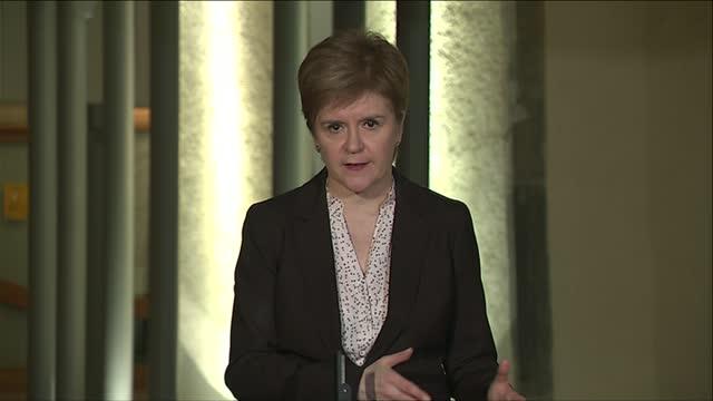 scotland in full lockdown from midnight; england: london: int nicola sturgeon msp 2-way interview sot - nicola sturgeon stock videos & royalty-free footage