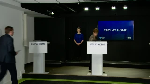scottish government to 'monitor evidence' before easing lockdown; scotland: edinburgh: int nicola sturgeon msp into press conference - member of the scottish parliament stock videos & royalty-free footage
