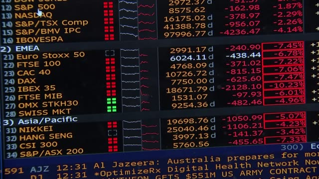 shares plunge in worst day for markets since financial crisis; england: london: int rear view stock traders sat at computers and man shouting from... - erdöl stock-videos und b-roll-filmmaterial