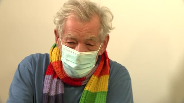 sir ian mckellen receives covid-19 vaccine; england: london: queen mary's university hospital: int sir ian mckellen interview continued sot - re... - ian mckellen stock videos & royalty-free footage