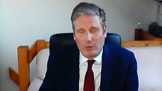 sir keir starmer calls on government to be open about its plans to ease lockdown england london int sir keir starmer mp 2way interview via internet... - キャシー・ニューマン点の映像素材/bロール