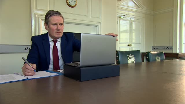 sir keir starmer holds video call consultations / interview; england: london: westminster: int various shots of sir keir starmer mp speaking and... - keir starmer stock videos & royalty-free footage