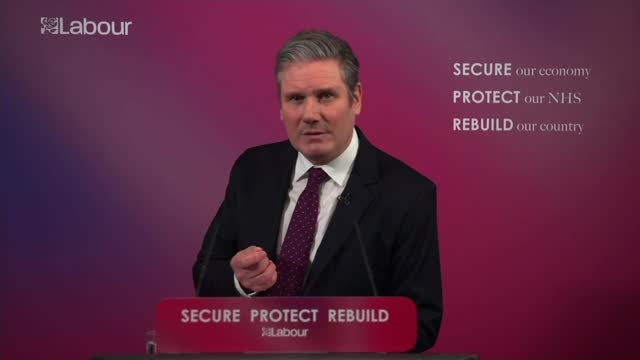 sir keir starmer sets out vision for post-covid britain; england: london: westminster: labour party hq: int sir keir starmer mp along to podium and... - war and conflict video stock e b–roll
