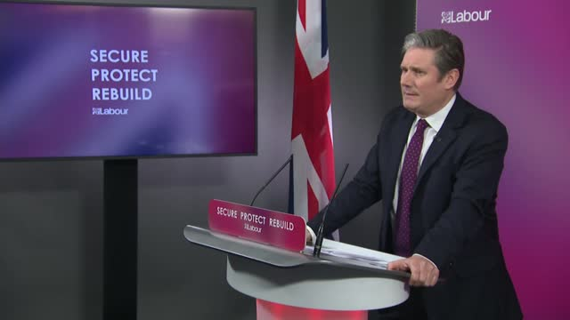 sir keir starmer sets out vision for post-covid britain: press conference alternative angle; clip 2 of 8 england: london: westminster: labour party... - war and conflict stock videos & royalty-free footage