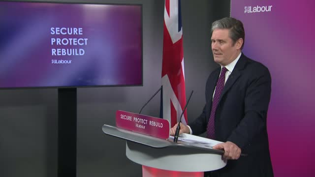 sir keir starmer sets out vision for post-covid britain: press conference alternative angle; clip 1 of 8 england: london: westminster: labour party... - war and conflict video stock e b–roll