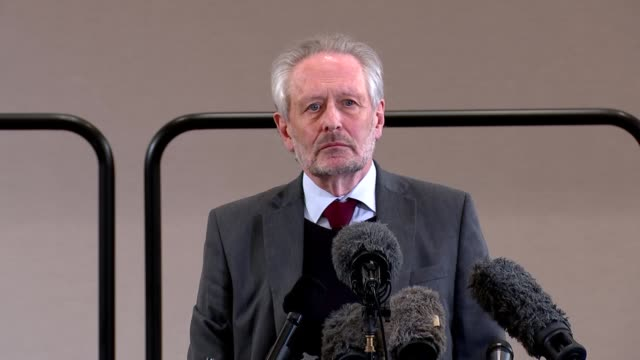 sir peter soulsby and ivan browne press conference; england: east midlands: leicester: int sir peter soulsby answering questions at press conference... - global communications stock videos & royalty-free footage
