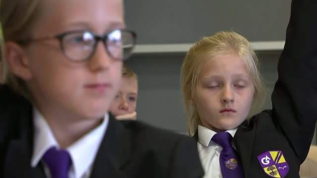 social distancing measures at grace academy in solihull; england: west midlands: solihull: grace academy: int various of secondary schoolchildren... - primary school child stock videos & royalty-free footage