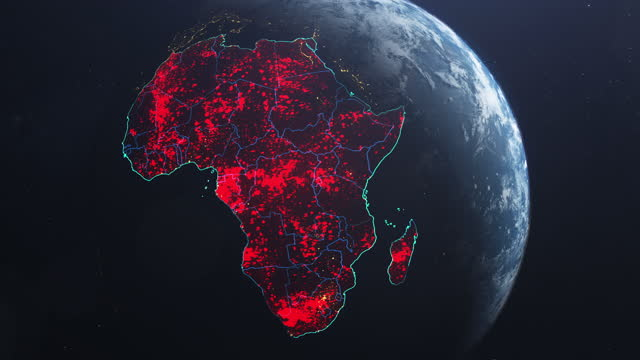 vídeos de stock e filmes b-roll de coronavirus spreading in africa. earth seen from space, covered with red, pulsing dots of first cases - país área geográfica