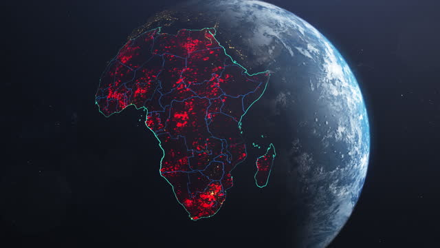coronavirus spreading in africa. earth seen from space, covered with red, pulsing dots of first cases - map stock videos & royalty-free footage