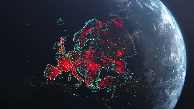 vídeos de stock e filmes b-roll de coronavirus spreading in europe. earth seen from space, covered with red, pulsing dots of new cases - país área geográfica