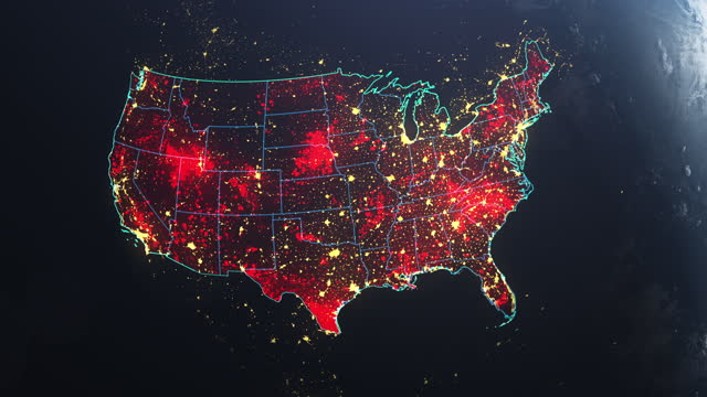 vídeos de stock e filmes b-roll de coronavirus spreading in usa. earth seen from space, covered with red, pulsing dots of first cases - país área geográfica