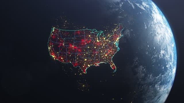 coronavirus spreading in usa. earth seen from space, covered with red, pulsing dots of first cases - physical geography stock videos & royalty-free footage
