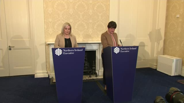 st patrick's day address strikes sombre tone; northern ireland: int arlene foster mla and michelle o'neill mla entering press conference. arlene... - press conference stock videos & royalty-free footage