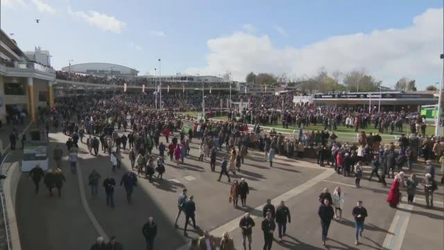 story of scott howell's battle with covid-19; lib / 13.3.2020 england: gloucestershire: cheltenham: cheltenham racecourse: ext crowd at racecourse... - cheltenham stock videos & royalty-free footage