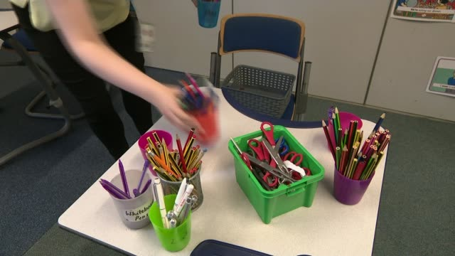 survey reveals that sixty-percent of parents think it would be unsafe to reopen schools; england: yorkshire: int pots of pencils, pens and scissors... - pencil stock videos & royalty-free footage