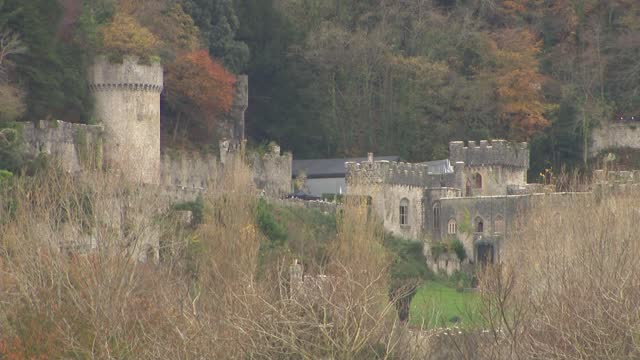 coronavirus / television: 'i'm a celebrity, get me out of here': first look at wales castle location; wales: abergele: gwrych castle: ext air view /... - news not politics stock videos & royalty-free footage