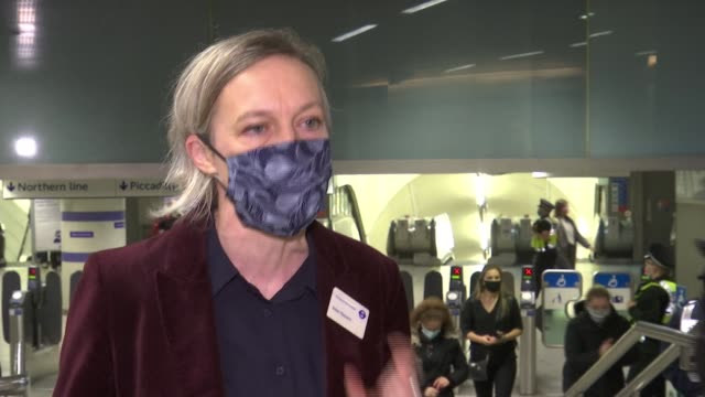 tfl and british transport police on patrol to enforce use of face coverings in capital; england: london: int siwan hayward interview excerpt sot. - itv london lunchtime news stock videos & royalty-free footage