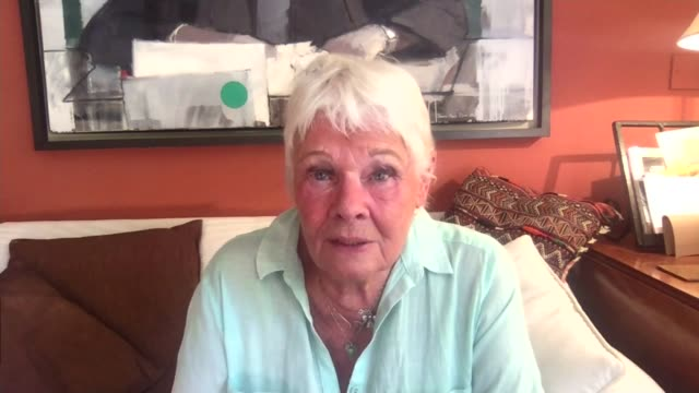 theatres to remain closed: dame judi dench interview; england: london: gir: int dame judi dench interview via internet sot - ジュディ・デンチ点の映像素材/bロール