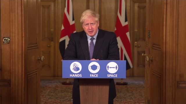 tier 3 covid-19 lockdown to be imposed on greater manchester after talks collapse; england: london: westminster: downing street: int boris johnson mp... - greater london stock videos & royalty-free footage