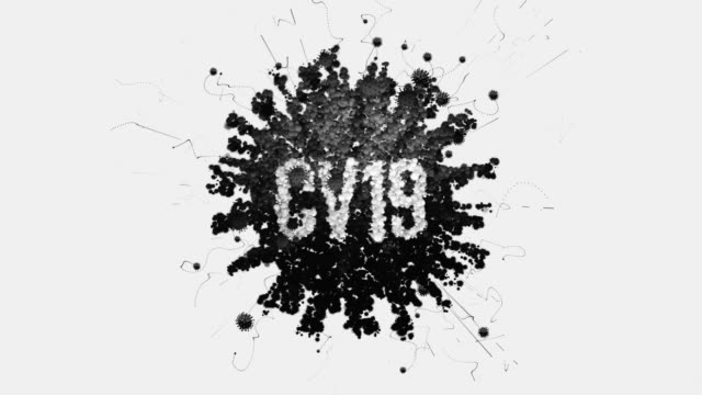 3d coronavirus title cv19 b/w - large scale screen stock videos & royalty-free footage