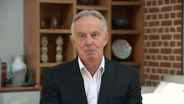 tony blair interview; england: location unknown / london: gir: int tony blair 2-way interview sot - wish boris johnson well in his recovery / two... - senior adult stock videos & royalty-free footage