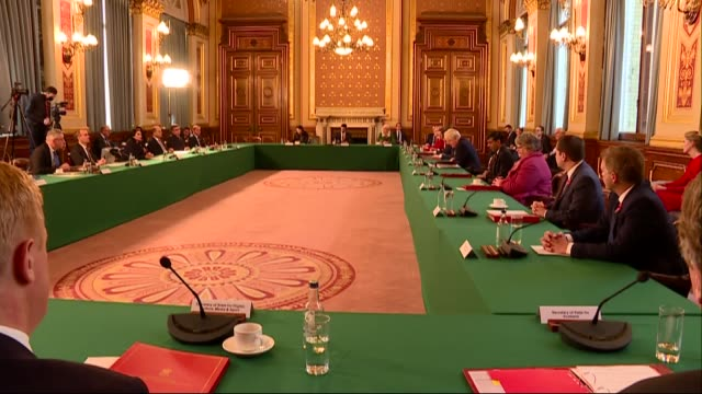 top of the cabinet meeting addressing reintroduction of lockdown; england: london: westminster: downing street: foreign and commonwealth office: int... - cabinet member stock videos & royalty-free footage