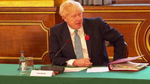 stockvideo's en b-roll-footage met top of the cabinet meeting addressing reintroduction of lockdown; england: london: westminster: downing street: foreign and commonwealth office: int... - boris johnson