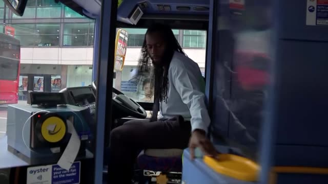 transport workers call for stronger protection from exposure; england: london: raheel amin speaking sot bloomsbury: various of buses along past... - bus stock videos & royalty-free footage