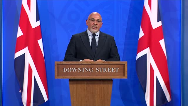 travel industry workers protest over covid rules; england: london: downing street: number 9: int nadhim zahawi mp along to podium / press conference... - number 9 stock videos & royalty-free footage