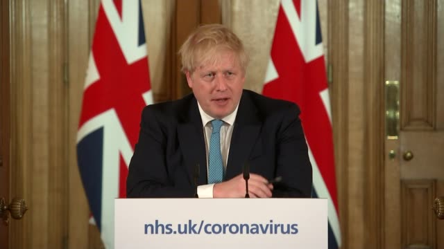 can 'turn the tide' within 12 weeks, says boris johnson; england: london: 10 downing street: int boris johnson mp press conference sot - i believe... - press conference stock videos & royalty-free footage